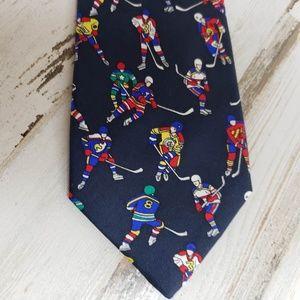 "Alynn Neckwear Mens Tie Blue ""Ice Hockey"""